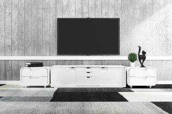現代の空き部屋のテレビ、最小限のデザイン。 3Dレンダリング