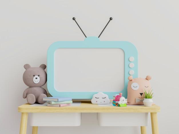 Телевизор в детской комнате с милыми игрушками