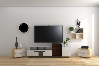 TV JAPAN - Smart Tv Mock-up on empty room, white wall in modern empty interior.