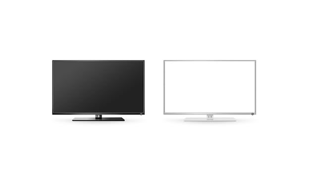 Tv lcd flat screen isolated, black and white set