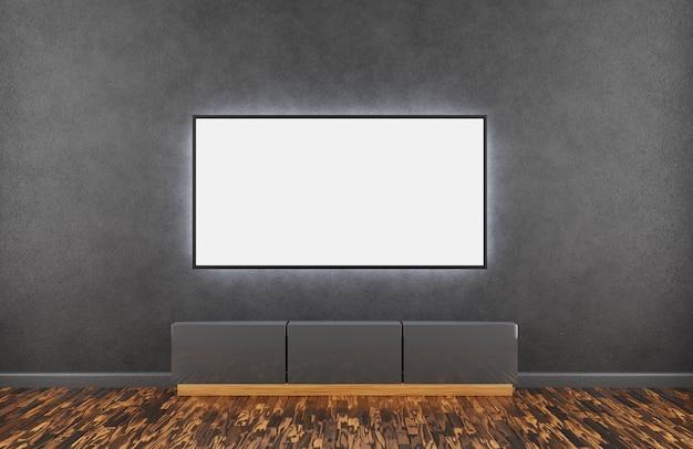 Макет тв. большой lsd телевизор в комнате на темной стене и деревянном полу, под телевизором темная тумбочка. 3d-рендеринг.