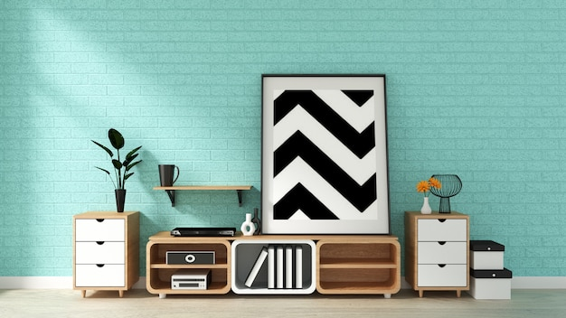 Tv mockup on mint wall in japanese living room. 3d rendering