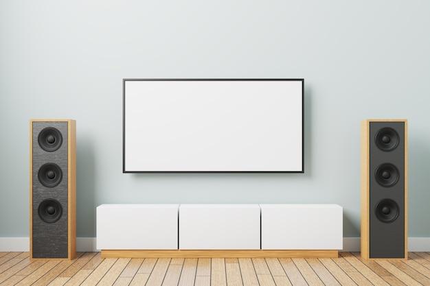 Макет тв на стене. минималистичный дизайн интерьера с прикроватной тумбочкой под телевизор и музыкальными колонками. 3d-рендеринг