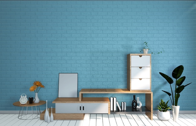 Tv mockup room mint blue wall in japanese living room. 3d rendering
