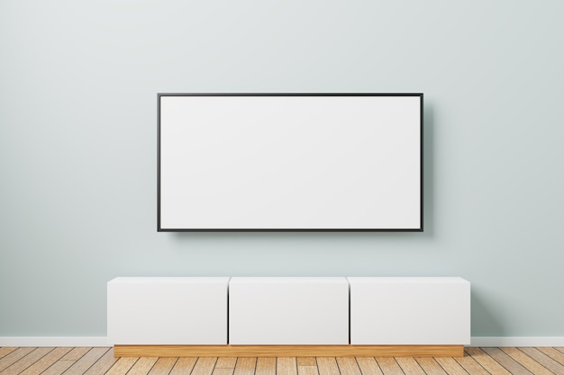 Tv mockup on the wall. minimalistic interior design with tv bedside table. 3d rendered