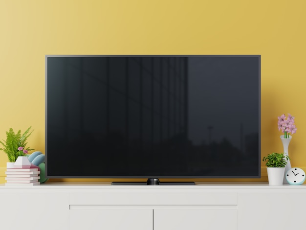 Tv mockup with blank black screen on cabinet. 3d rendering