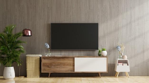 나무 벽, 3d 렌더링 현대 거실에서 캐비닛에 tv