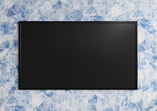 파란색과 흰색 대리석 벽에 벽에 tv