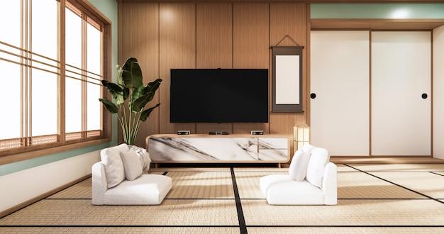 민트 룸 현대 열대 스타일의 벽에 tv