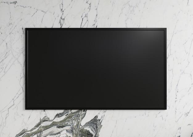흰색 대리석 벽에 tv