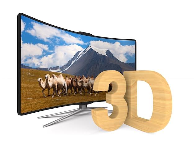 흰색 표면에 tv. 격리 된 3d 그림입니다.