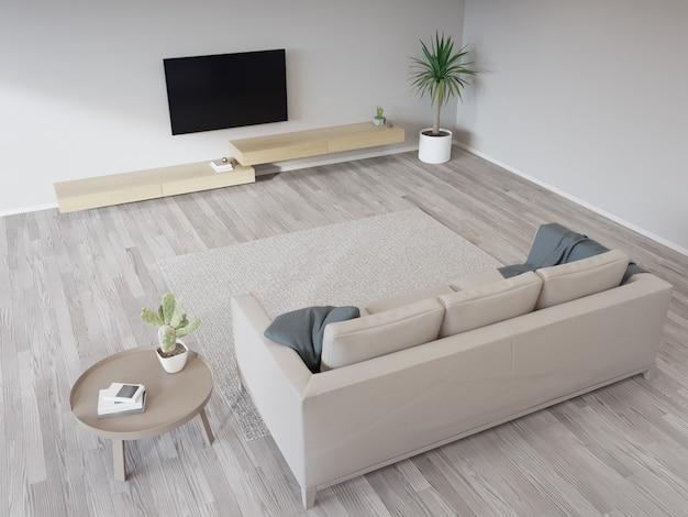 Телевизор на белой стене яркой гостиной и диван против телевизора в современном доме или квартире
