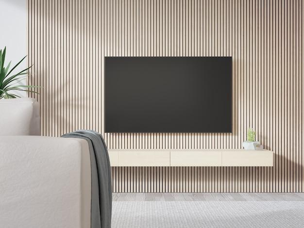 Телевизор на деревянной стене яркой гостиной и диван против телевизора в современном доме