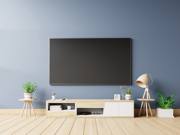 Tv screen in modern empty room and lamp,plants,decoration on back dark wall background
