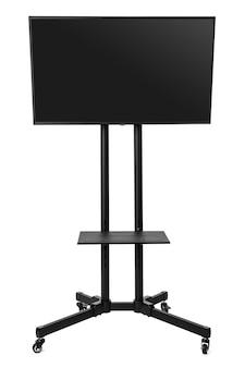 Tv는 흰색 절연 금속 스탠드에 검은 화면을 설정