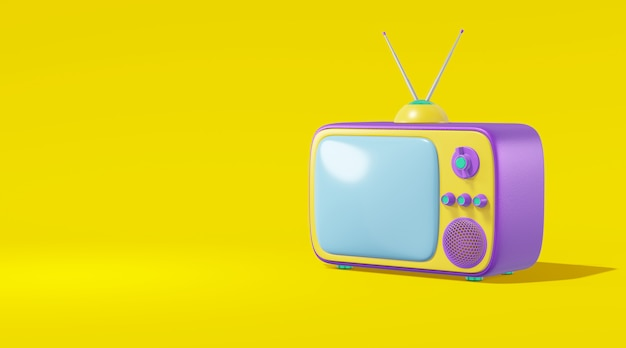 テレビのアンテナ漫画スタイルの明るいバイオレット色黄色、3 dレンダリング