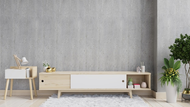 현대 빈 방, 최소한의 디자인, 3d 렌더링에 tv 선반