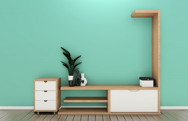 Tv shelf in mint room modern tropical style - empty room interior - minimal design. 3d rendering