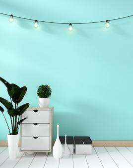 Tv shelf in mint room modern zen style