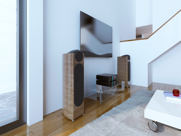 Tv and sound system at modern living room and wooden speakers with built-in subwoofer.