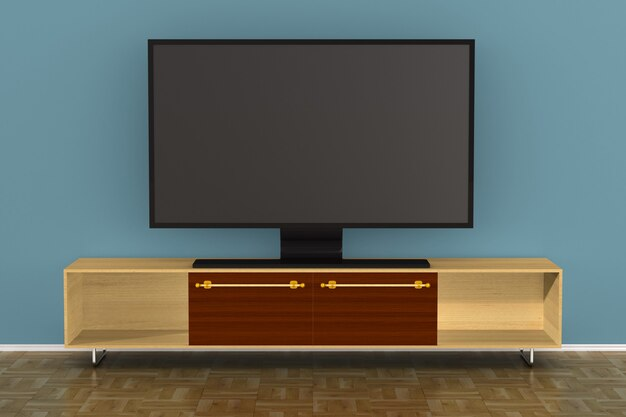 Tv는 거실에 서 있습니다. 3d 일러스트레이션