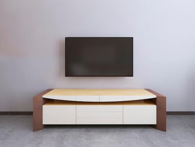Телевизор в современной гостиной. 3d визуализация.