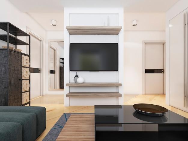 Телевизор в современной гостиной. 3d рендеринг