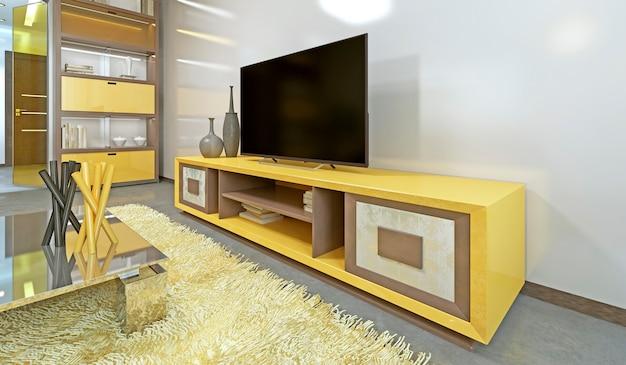 벽에 노란색 tv가 있는 거실의 tv 장치. 3d 렌더링.