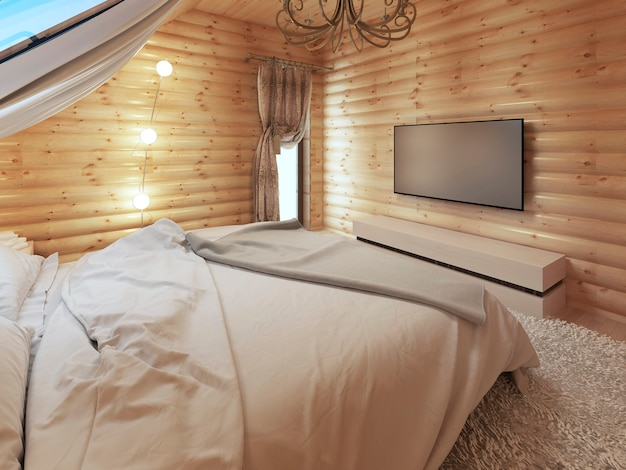 Tv unit in a modern bedroom interior in a log