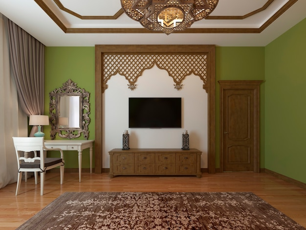 Tv unit, in a wooden frame around, arabic style. eastern bedroom style. 3d rendering