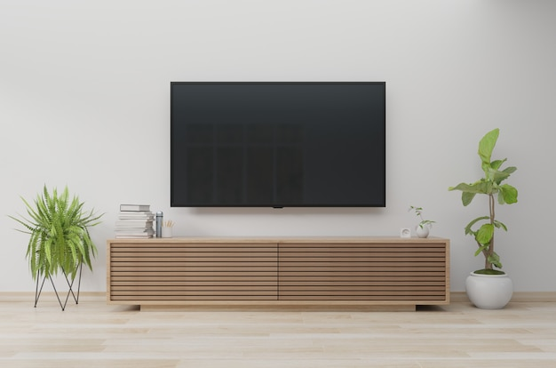 Tv on wall and cabinet, living room. 3d rendering