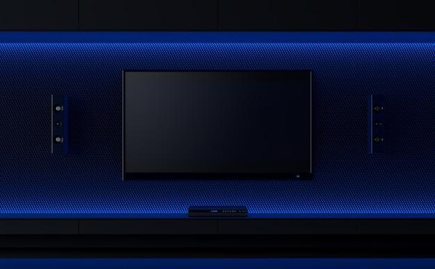 Tv 벽 디자인 아이디어 3d 렌더는 숨겨진 푸른 빛으로 장식합니다tv 화면에 클리핑 경로가 있습니다