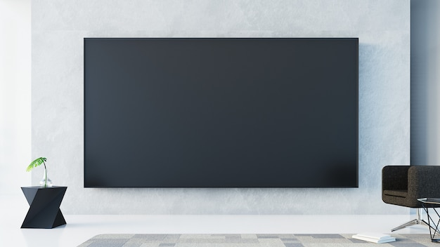 Tv wall  in living room / 3d rendering