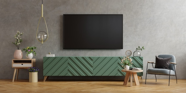 Tv wall mount on cabinet the in modern living room the concrete wall, 3d rendering