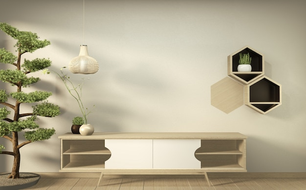Tv on wall and wooden cabinet in modern empty room japanese minimal designs. 3d rendering