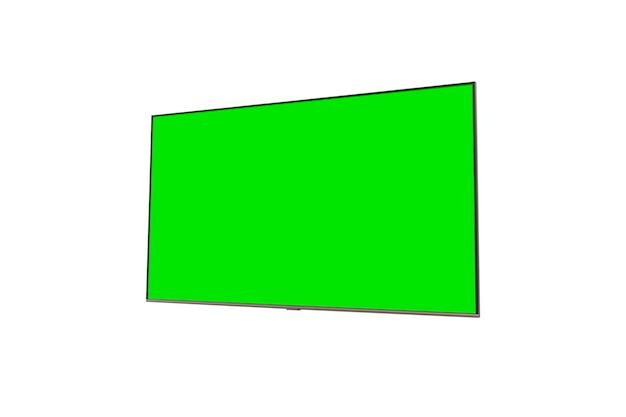 Телевизор с зеленым экраном, изолированные на белом фоне концепция технологического подключения