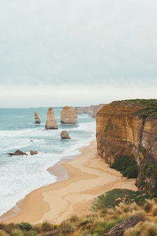 The twelve apostles is the famous place in great ocean road in victoria, australia.