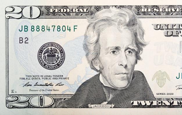 Макрос банкноты 20 бумажных долларов сша. фото в высоком разрешении