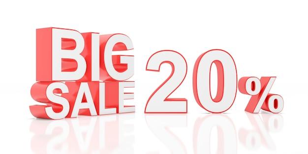 Twenty percent sale. big sale for website banner. 3d rendering.