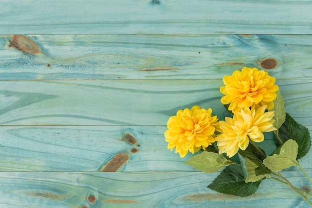 Twig with yellow flowers on table