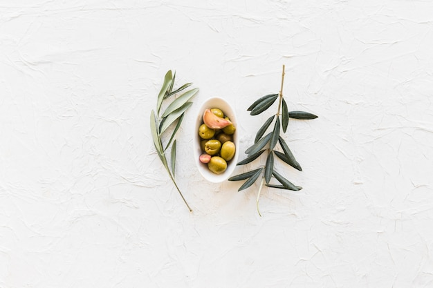 Twigs with bowl of olives and garlic clove on textured background