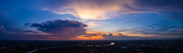 Twilight landscape panorama colourful red orange blue cloud sky aerial view