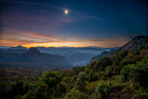 Twilight mist mountain at jabo