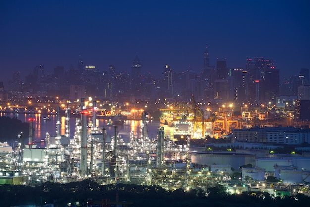 Twilight of oil refinery, oil refinery and petrochemical plant at dusk, bangkok, thailand