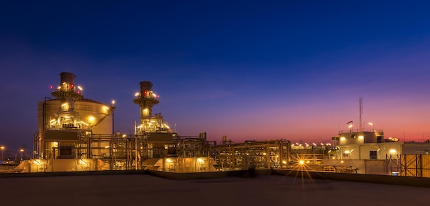 Twilight photo of power plant,natural gas combined cycle,gas turbine generator and stack
