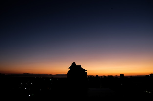 Twilight sky in the morning from top view in chiangmai, thailand. beautiful sunrise view.