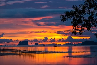 Twilight sunset seascape at the beach in thailand