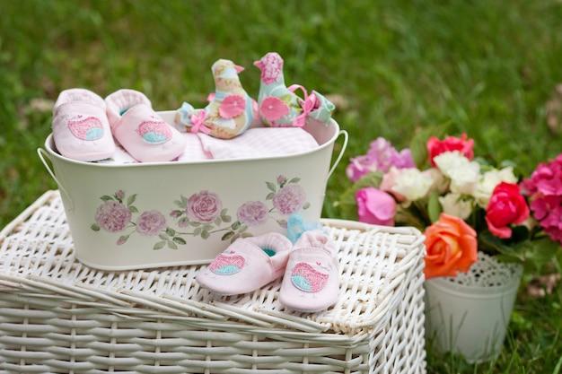 쌍둥이 아기 소녀 신발
