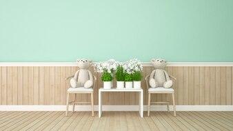 双子の熊と緑の部屋 -  3 dレンダリングの花