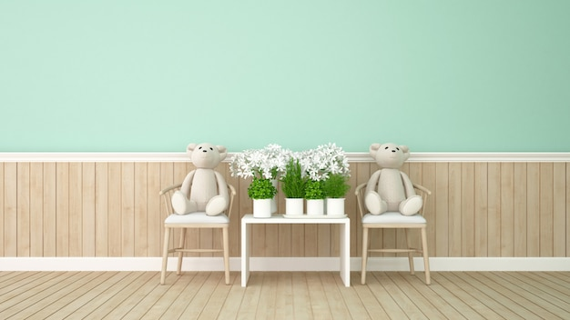 Twin bear and flower in green room - 3d rendering
